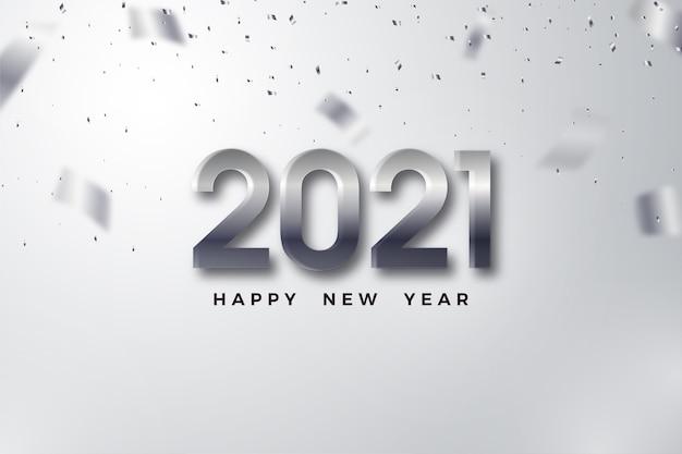 Frohes neues jahr 2021 mit prominenten 3d-metallic-figuren.