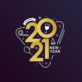 Frohes neues jahr 2021 mit schrifttypografie