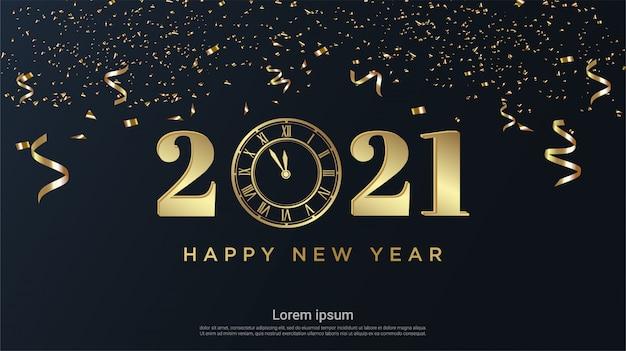 Frohes neues jahr 2021 mit uhr und bandhintergrund