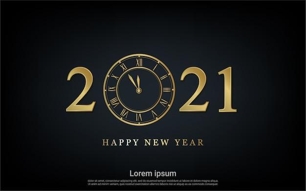 Frohes neues jahr 2021 mit uhrenhintergrund