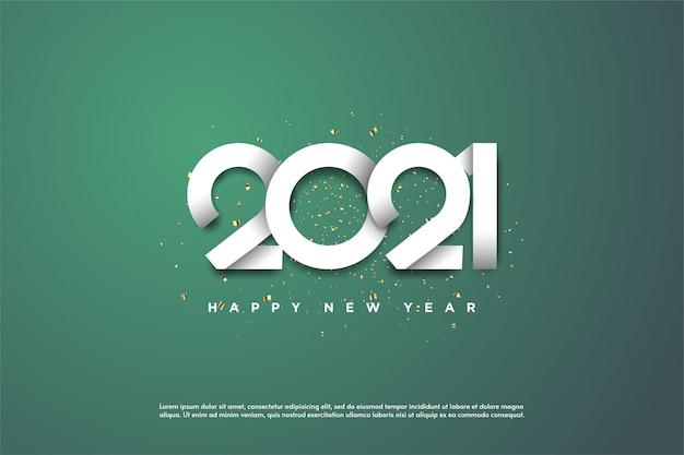 Frohes neues jahr 2021 mit weißen zahlen auf grünem hintergrund.