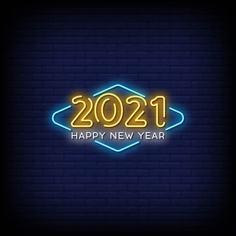 Frohes neues jahr 2021 neon signs style text