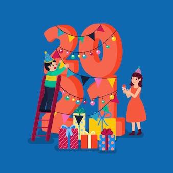 Frohes neues jahr 2021 party poster oder banner mit geschenkbox-symbolen