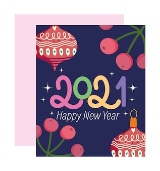 Frohes neues jahr 2021, schriftart mit kugeln und stechpalmenbeerenfahnen-vektorillustration