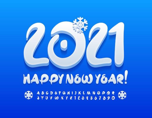 Frohes neues jahr 2021. schriftart weißer schnee. handgeschriebene alphabet buchstaben und zahlen gesetzt