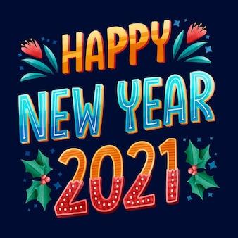 Frohes neues jahr 2021 schriftzug