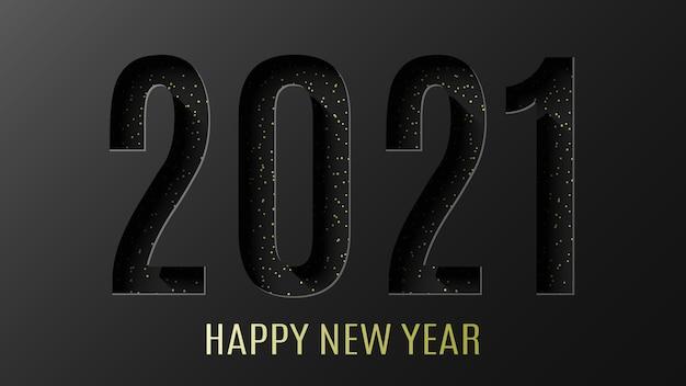 Frohes neues jahr 2021 schwarzes papier geschnittenes banner. Premium Vektoren