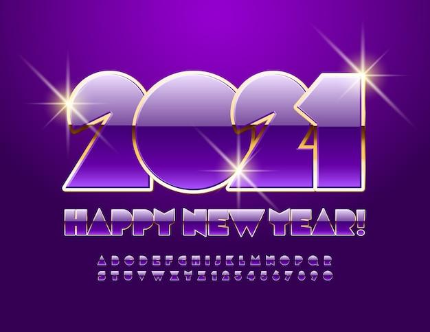 Frohes neues jahr 2021. violette und goldene schrift. alphabet buchstaben und zahlen