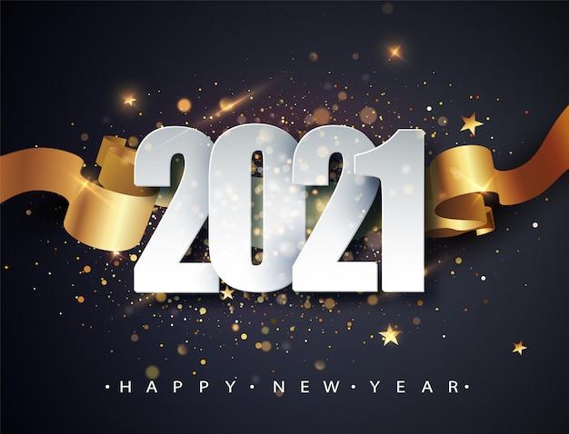 Frohes neues jahr 2021. winterurlaub grußkarte design-vorlage. neujahrsferienplakate. frohes neues jahr dunkler festlicher hintergrund