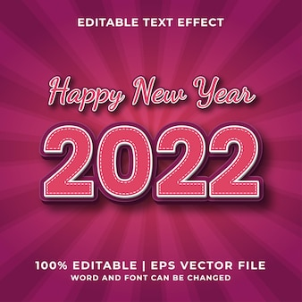 Frohes neues jahr 2022 3d bearbeitbarer texteffekt premium-vektor