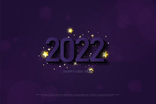 Frohes neues jahr 2022 auf lila hintergrund