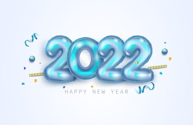 Frohes neues jahr 2022. blaue metallische zahlen 2022 im realistischen 3d-zeichen. urlaub-elemente-vektor-illustration für banner, poster und design.