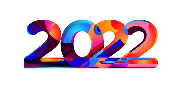 Frohes neues jahr 2022 bunte geometrische 3d-zahlen