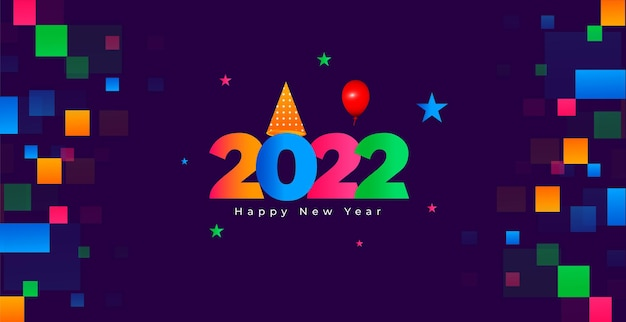 Frohes neues jahr 2022 buntes hintergrunddesign mit kalenderkopfnummer 2022