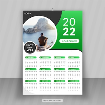 Frohes neues jahr 2022 business wandkalender design