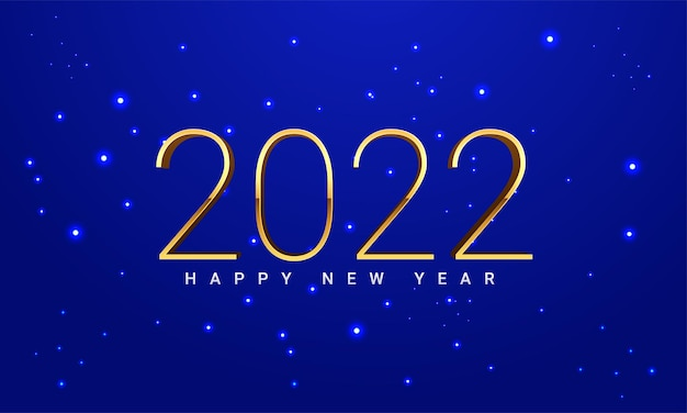 Frohes neues jahr 2022 eleganter goldtext mit licht