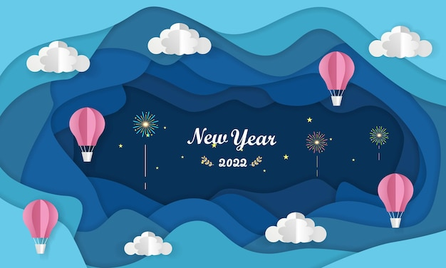 Frohes neues jahr 2022 farbenfrohes papercut-banner im papierstil für ihre saisonale urlaubsgrußkarte