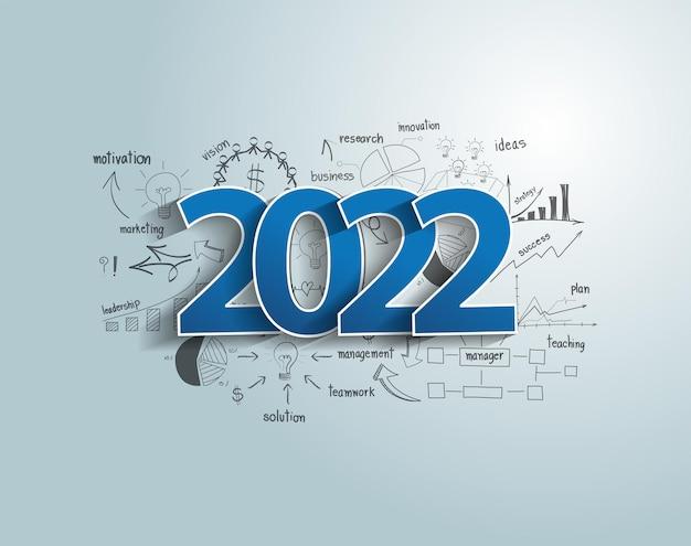 Frohes neues jahr 2022 geschäftserfolgsideenkonzept mit kreativem denken, das diagramme und diagramme strategieplan zeichnet, modernes vorlagenlayout der vektorillustration
