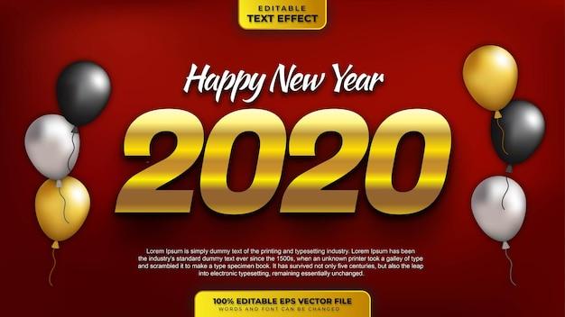 Frohes neues jahr 2022 gold 3d bearbeitbarer texteffekt