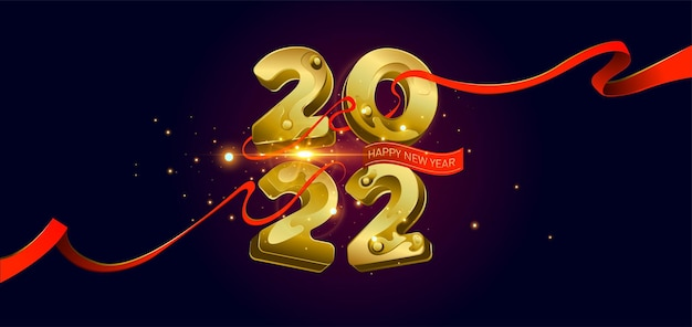 Frohes neues jahr 2022 goldene 3d-zahlen mit bändern