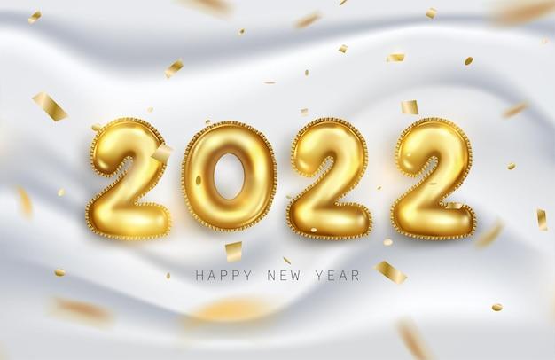 Frohes neues jahr 2022. goldene metallische zahlen 2022 in realistischem 3d auf weichem weißem hintergrund mit glänzendem glitzer oder fallendem band. urlaub-elemente-vektor-illustration für banner, poster und design.