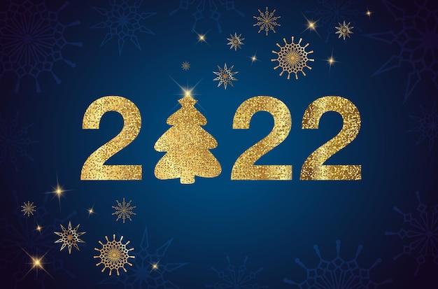 Frohes neues jahr 2022 goldene zahlen mit weihnachtsbaum feiertagsgrußkartendesign