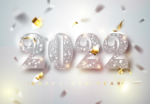 Frohes neues jahr 2022 grußkarte mit silbernen zahlen und konfetti-rahmen auf weißem hintergrund. vektor-illustration. frohe weihnachten-flyer- oder poster-design