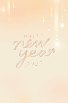 Frohes neues jahr 2022 grußkartentext, gatsby-ästhetik auf pfirsichbeigem hintergrundvektor