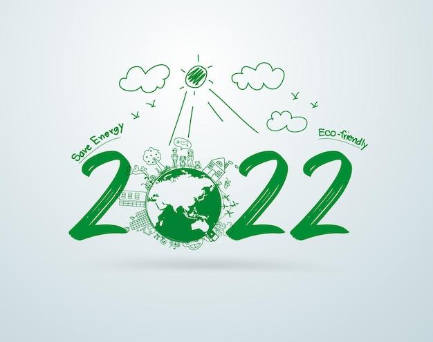 Frohes neues jahr 2022 kreative zeichnung umweltfreundlich umweltfreundlich, vektorillustrations-layout-vorlagendesign