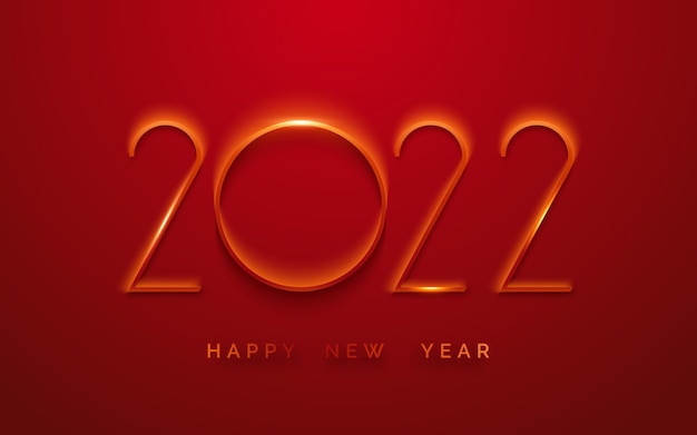 Frohes neues jahr 2022 minimalistische grußkarte hintergrund mit leuchtenden ziffern
