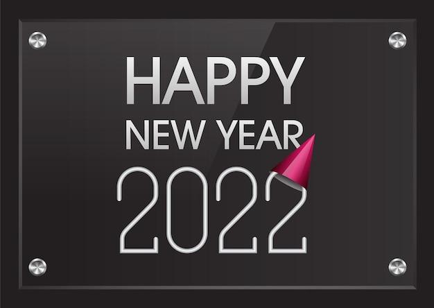 Frohes neues jahr 2022 mit abschlusskappe hut