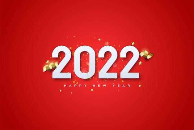 Frohes neues jahr 2022 mit ausgefallenen goldenen zahlen und schleife