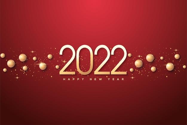 Frohes neues jahr 2022 mit dünnen goldzahlen und goldkörnern