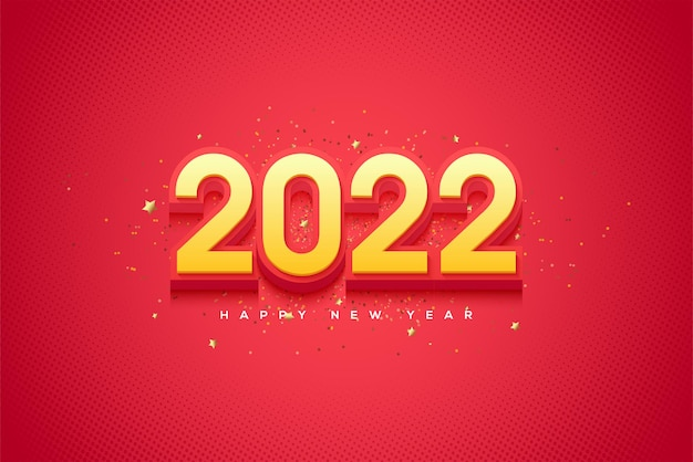 Frohes neues jahr 2022 mit einer kombination aus leuchtend gelben und roten farben