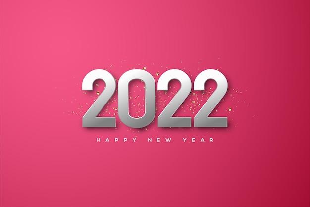 Frohes neues jahr 2022 mit eleganten metallischen zahlen