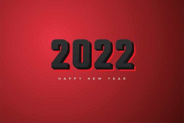 Frohes neues jahr 2022 mit eleganten schwarzen 3d-zahlen