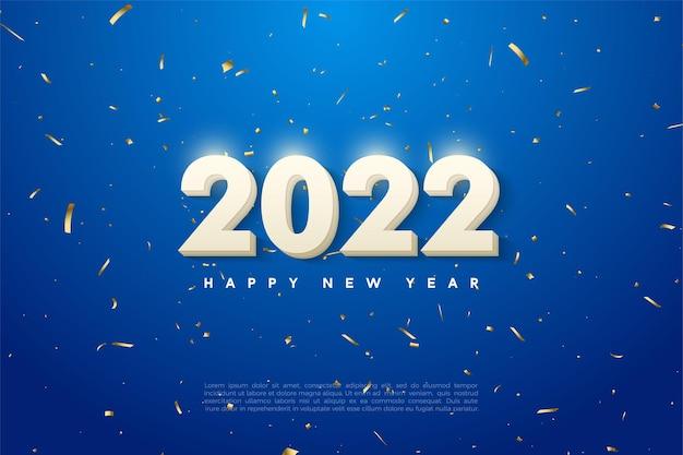 Frohes neues jahr 2022 mit fetten weißen zahlen