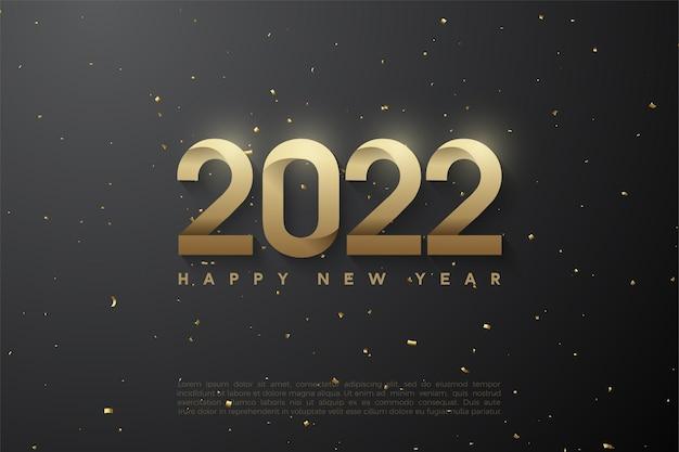 Frohes neues jahr 2022 mit gemusterten zahlen