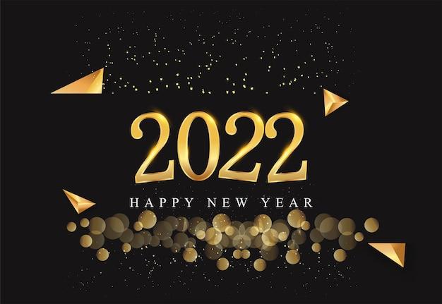 Frohes neues jahr 2022 mit glitzer auf schwarzem hintergrund, textdesign goldfarben, vektorelemente für kalender und grußkarten.