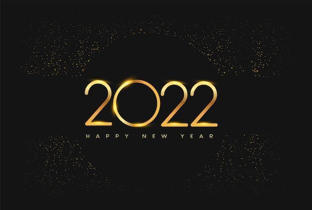Frohes neues jahr 2022 mit glitzer isoliert auf schwarzem hintergrund textdesign goldfarben
