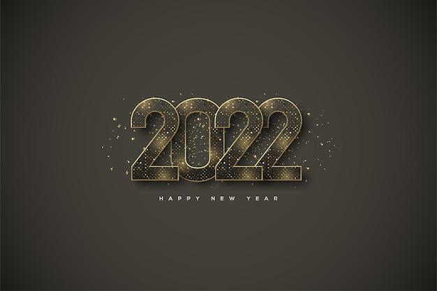 Frohes neues jahr 2022 mit glitzerzahlen auf schwarzem hintergrund