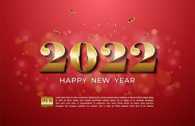 Frohes neues jahr 2022 mit goldband und glitzer auf rotem hintergrund