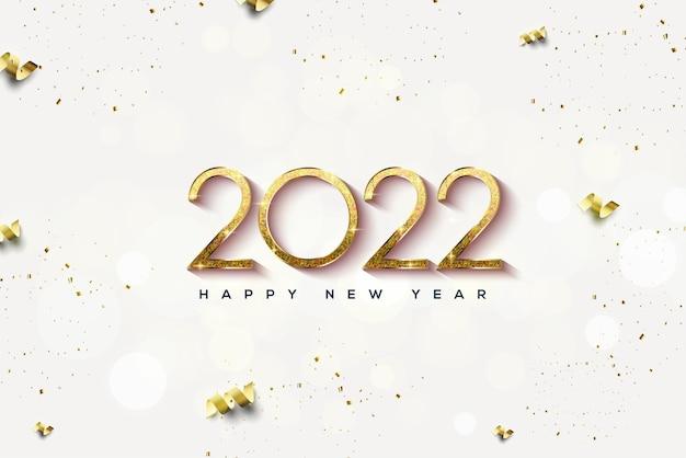 Frohes neues jahr 2022 mit goldenen glitzerzahlen
