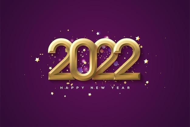 Frohes neues jahr 2022 mit goldenen zahlen aufgetürmt