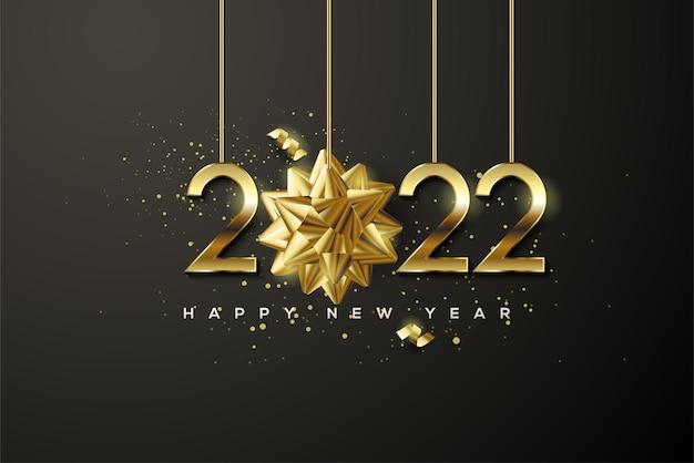 Frohes neues jahr 2022 mit goldenen zahlen und goldenem band