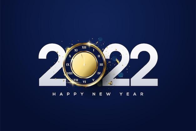 Frohes neues jahr 2022 mit klassischen zahlen und uhren