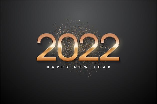 Frohes neues jahr 2022 mit leuchtenden zahlen