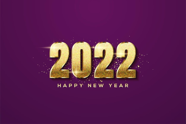 Frohes neues jahr 2022 mit luxuriösen goldenen glitzerzahlen