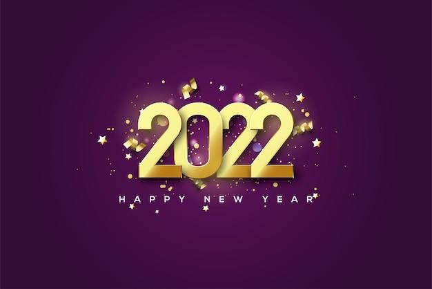 Frohes neues jahr 2022 mit luxuriösen und eleganten goldenen zahlen
