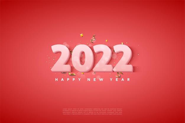 Frohes neues jahr 2022 mit milchig weißen zahlen